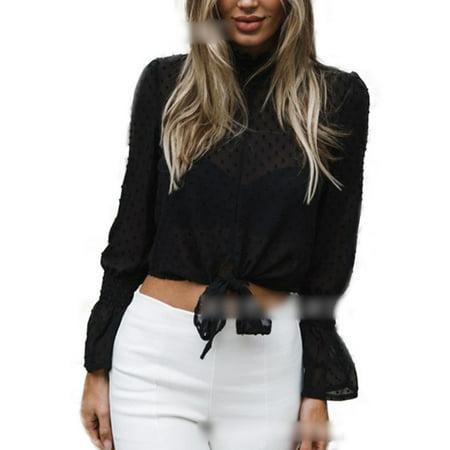 7b88136e291d3f Women Chiffon Long Sleeve High Neck T-Shirt Ladies Tie-Front Cropped Tops  Blouse - Walmart.com