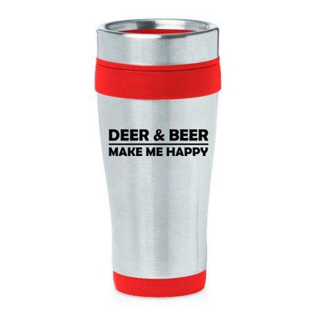 16 oz Insulated Stainless Steel Travel Mug Deer & Beer Make Me Happy Funny (Funny Deer)