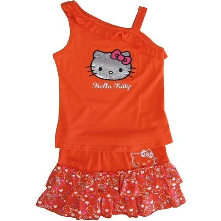 Hello Kitty Birthday Outfit (Sanrio Little Girls Orange Hello Kitty One Shoulder Top Skirt Outfit)