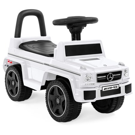 Best Choice Products Kids Toddler Luxury Mercedes G63 Convertible Cruiser Foot-to-Floor Ride-On Push Car Toy Buggy for Indoor/Outdoor Play w/ Steering Wheel, Push Handle, Honking Horn - White