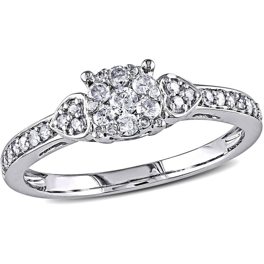 Miabella 1/3 Carat T.W. Diamond Fashion Ring in 10kt White Gold