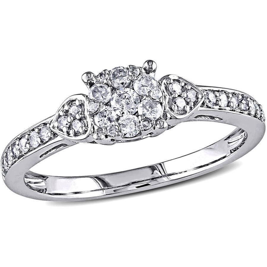 Miabella 1/3 Carat T.W. Diamond Fashion Ring in 10kt White Gold