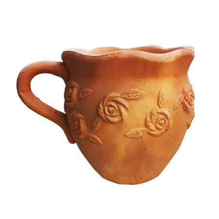 Image of New Designed Heavy Hand Pressed Ancient Stressed Terracotta Pitcher Shaped Flower Pot or Planter