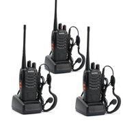 Ktaxon 3 Pcs Baofeng BF-888S UHF 400-470Mhz Handheld Walkie Talkie Radios Headsets