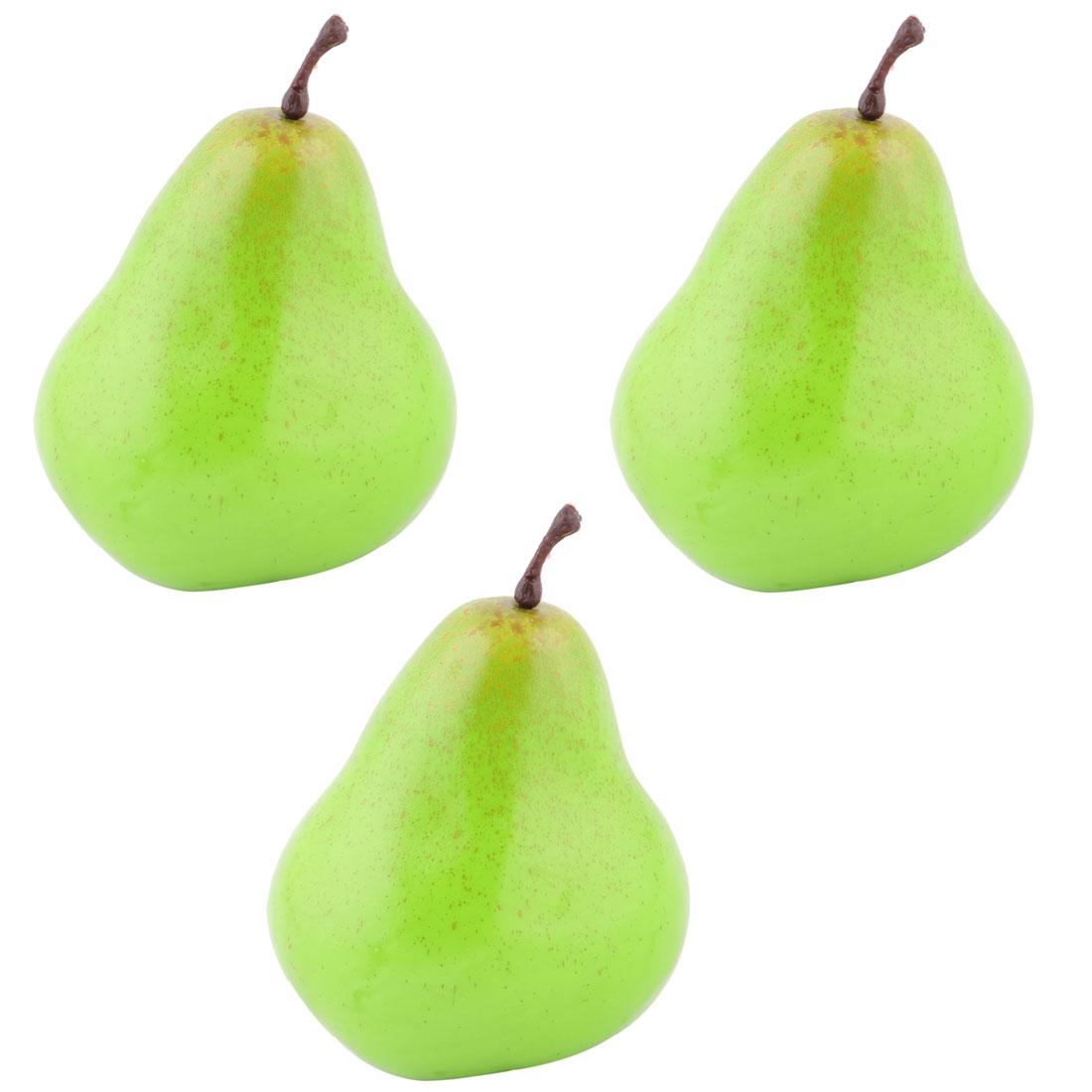 House Table Decor Foam Artificial Pear Designed Emulation Fruit Mold Green 3pcs