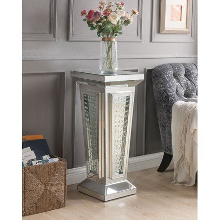 ACME Nysa Pedestal Stand in Mirrored and Faux - Double Pedestal Silver Legs