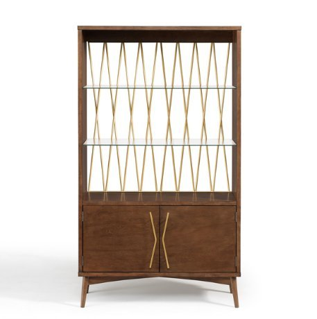 Mid Century Modern Wood Diamond Gold Metal Back Display Cabinet with 2 Adjustable Tempered Glass Shelves and 2 Cupboard with Shelves - Includes Modhaus Living Pen