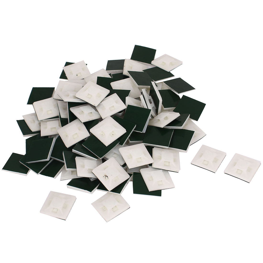 White 100 Pack Self Adhesive Cable Tie Base Holders 20 mm x 20 mm x 4 mm