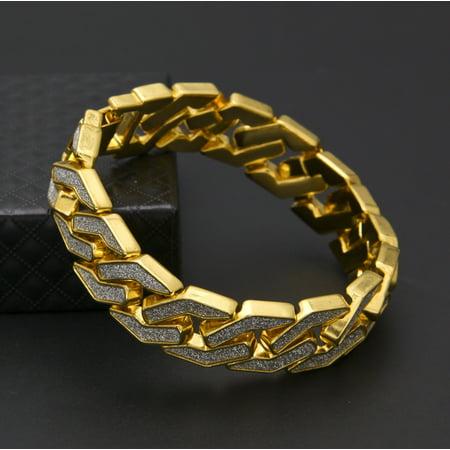 Outtop Sand Explosion Cuban Bracelet Chain Hip Hop Gold Silver Mens (Gold Cuban Bracelet)