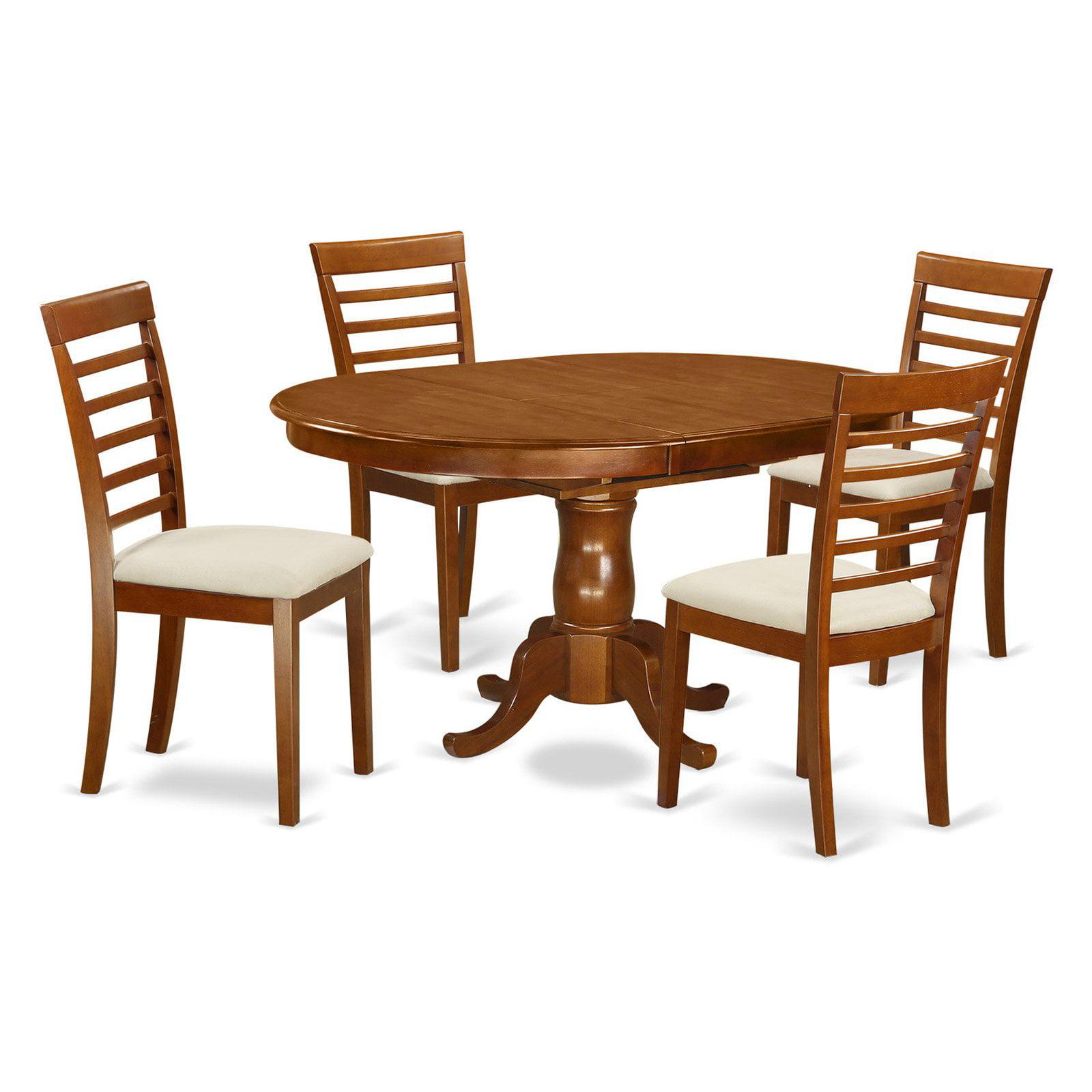East West Furniture Portland 5 Piece Straight Ladderback Dining Table Set