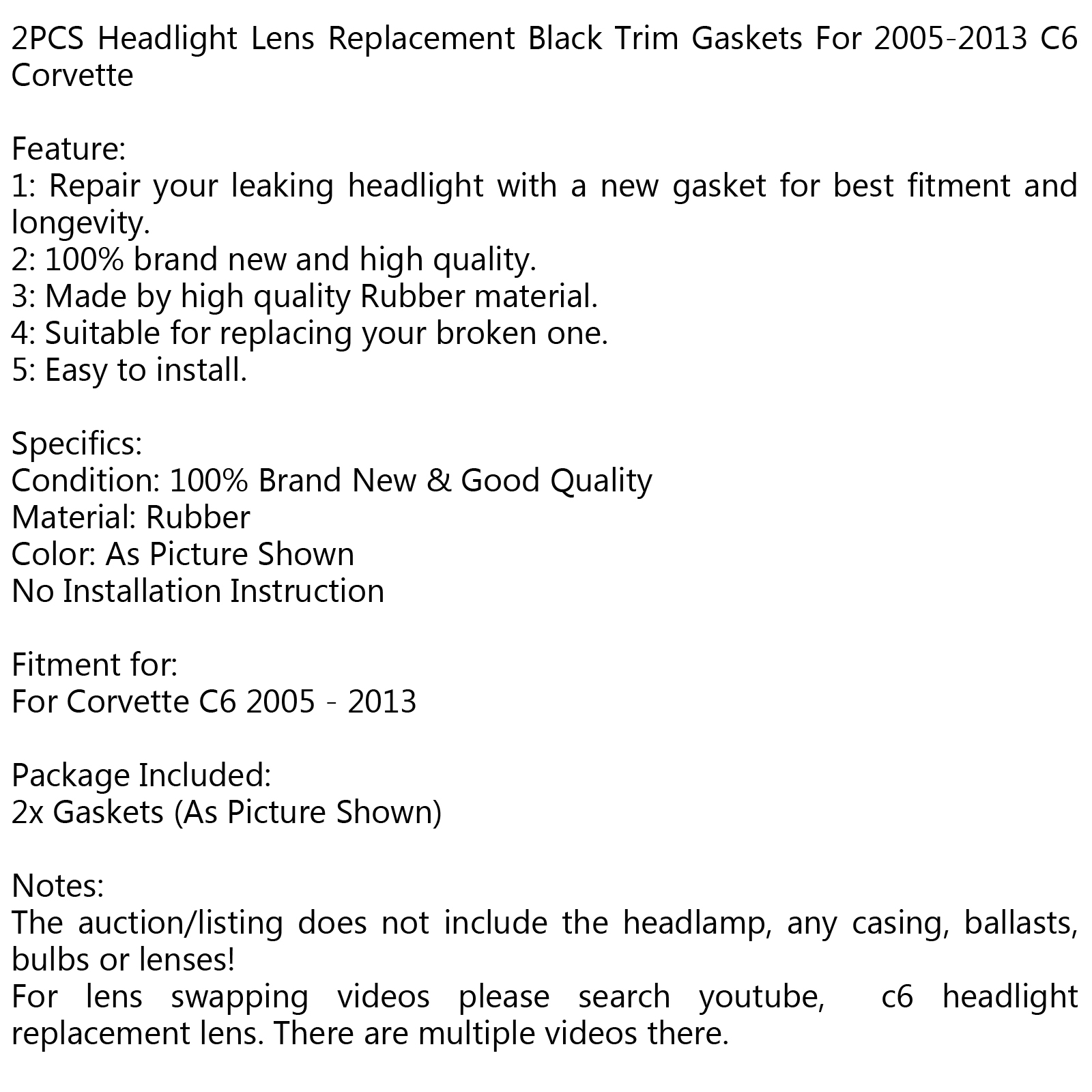 2PCS Headlight Lens Replacement Trim Gaskets for Corvette C6 2005-2013 Black