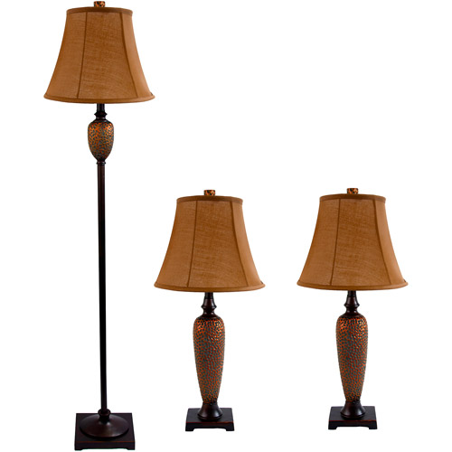 Elegant Designs Hammered Bronze Three-Pack Lamp Set