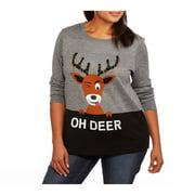Holiday Women's Plus Oh Deer Reindeer Pullover Sweater