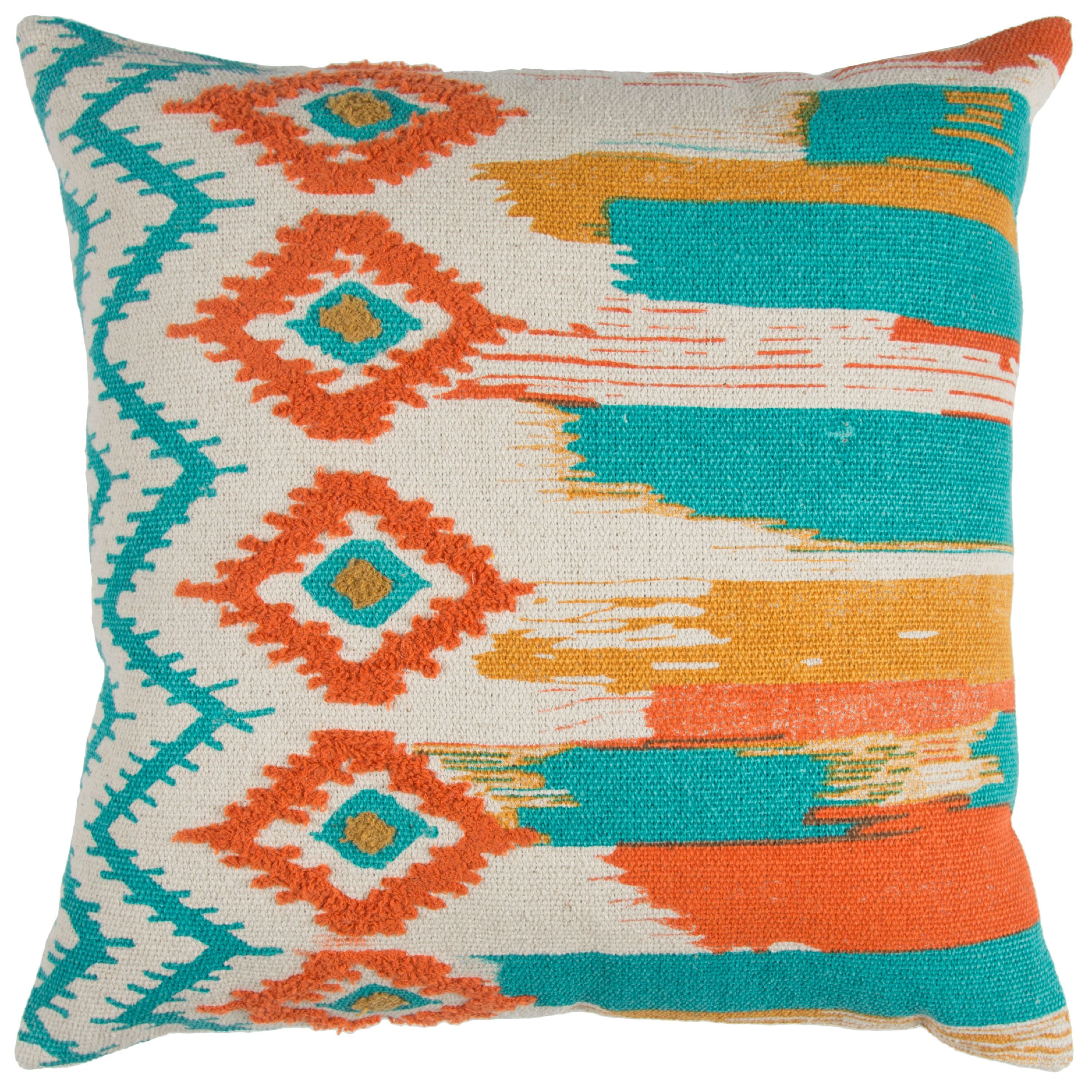 """Rizzy Home Natural Navy Boho Ikat Abstract Striped Cotton Decorative Throw Pillow, 20"""" x 20"""", Natural Teal"""