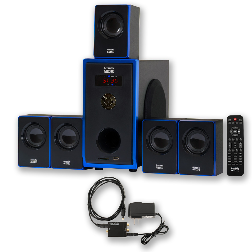 Acoustic Audio AA5102 Home Theater 5.1 Speaker System with Optical Input Surround Sound