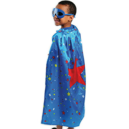 Kid Fun Halloween Superhero Star Costume Cape, Blue Red, One-Size 30