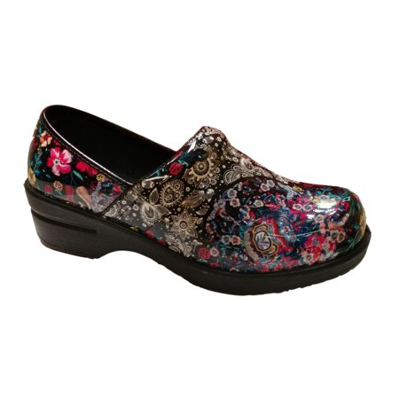 Savvy Women's Brandy Floral Slip Resistant Nursing \ Work Wear Slip On Clog