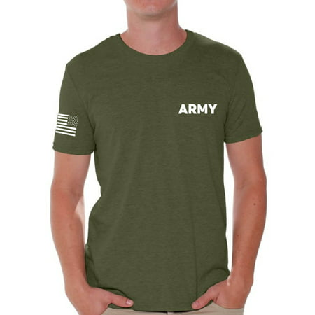 Awkward Styles Army Tshirt for Men Army Shirt with Usa Flag on Sleeve Patriots Gifts for Him Military Army Shirt American Flag Sleeve Army T Shirt for Men Army Gifts Army Physical Training Shirt