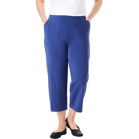 Woman Within Plus Size Everywear Essential Cropped Pant Ladies Cropped Pants