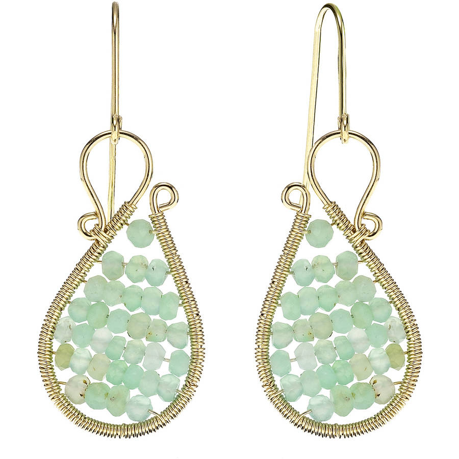 Image of 5th & Main 18kt Gold over Sterling Silver Hand-Wrapped Asymmetric Beaded Chalcedony Stone Earrings