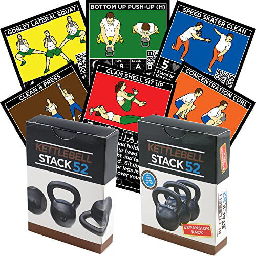 Kettlebell Exercise Cards DUO Pack by Stack 52. Kettlebell Workout Playing Card Game. Video Instructions... by Stack 52