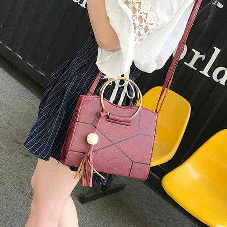 Charming Elegant Design Women Shoulder Bags PU Leather Wooden Bead Tassels Big Ring Handle Crossbody Bag Handbags - Beaded Purse Designs
