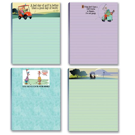Funny Assorted Golf Theme Pads - 4 Assorted Note Pads