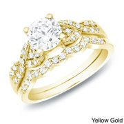 Auriya  14k Gold 1ct TDW Certified Diamond Twist Engagement Ring Bridal Set
