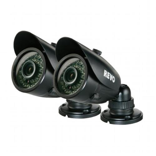 REVO RCBS30-3BNDL2N 700 TVL Indoor-Outdoor Bullet Surveillance Camera with 100 ft.  Night Vision - 2-Pack - BNC
