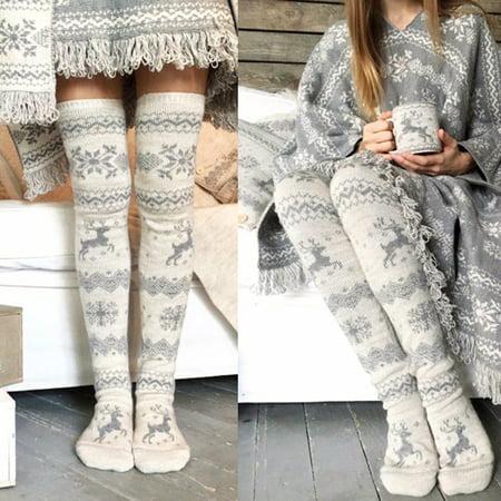 d5344cdc683 Women Christmas Thigh High Long Stockings Knit Over Knee Socks Xmas -  Walmart.com