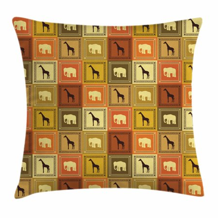 African Throw Pillow Cushion Cover, Savanna Elephants Cape Giraffes In Ornate Squares Checkered Pattern Ancestral Art, Decorative Square Accent Pillow Case, 18 X 18 Inches, Multicolor, by Ambesonne