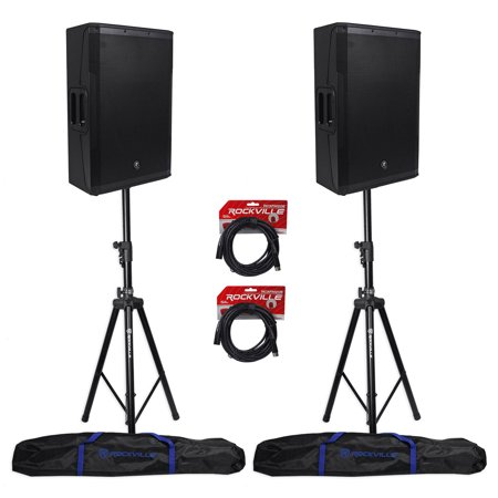 2 new mackie srm550 12 powered pa speakers 2 hydraulic speaker stands cables. Black Bedroom Furniture Sets. Home Design Ideas