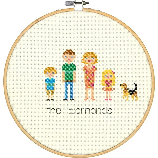 8 in. Round 14 Count All in The Family Counted Cross Stitch Kit