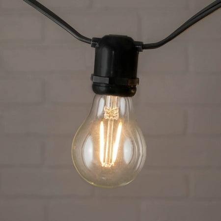 commercial string lights commercial globe string lights a19 dimmable led 54ft black wire warm. Black Bedroom Furniture Sets. Home Design Ideas