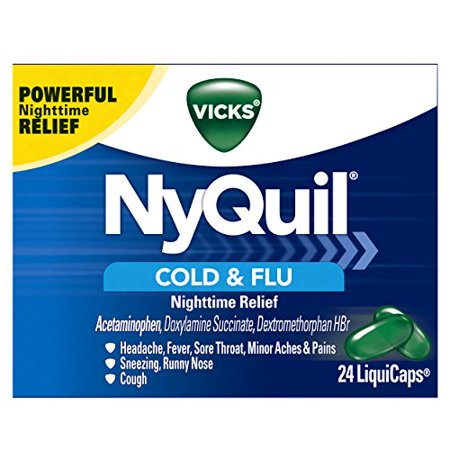 4 Pack - Vicks NyQuil Rhume et grippe secours LiquiCaps 24 Nighttime Chaque