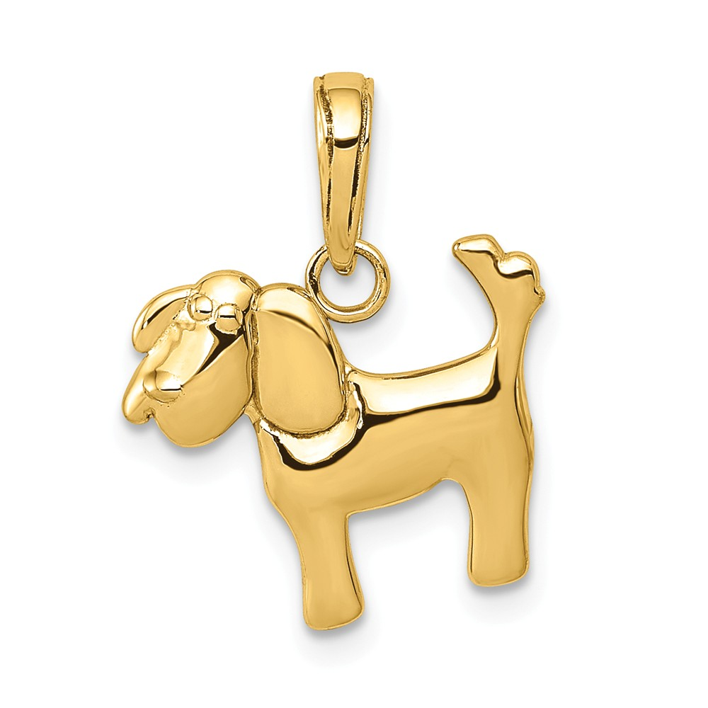 14k Yellow Gold D/C Dog Charm Pendant