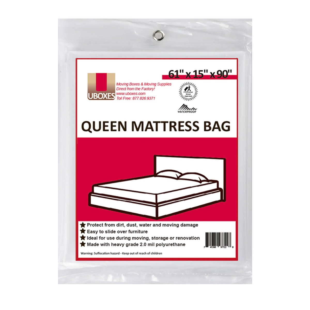 Uboxes Queen Mattress Poly Covers, 61 x 15 x 90 in, 12 Pack