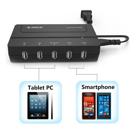 Top 5 Usb (ORICO Portable 5 Ports 30W High-Speed Desktop Travel Smart USB Hub Charger Adapter for iPhone iPad Samsung HTC LG Blackberry etc.. Black)