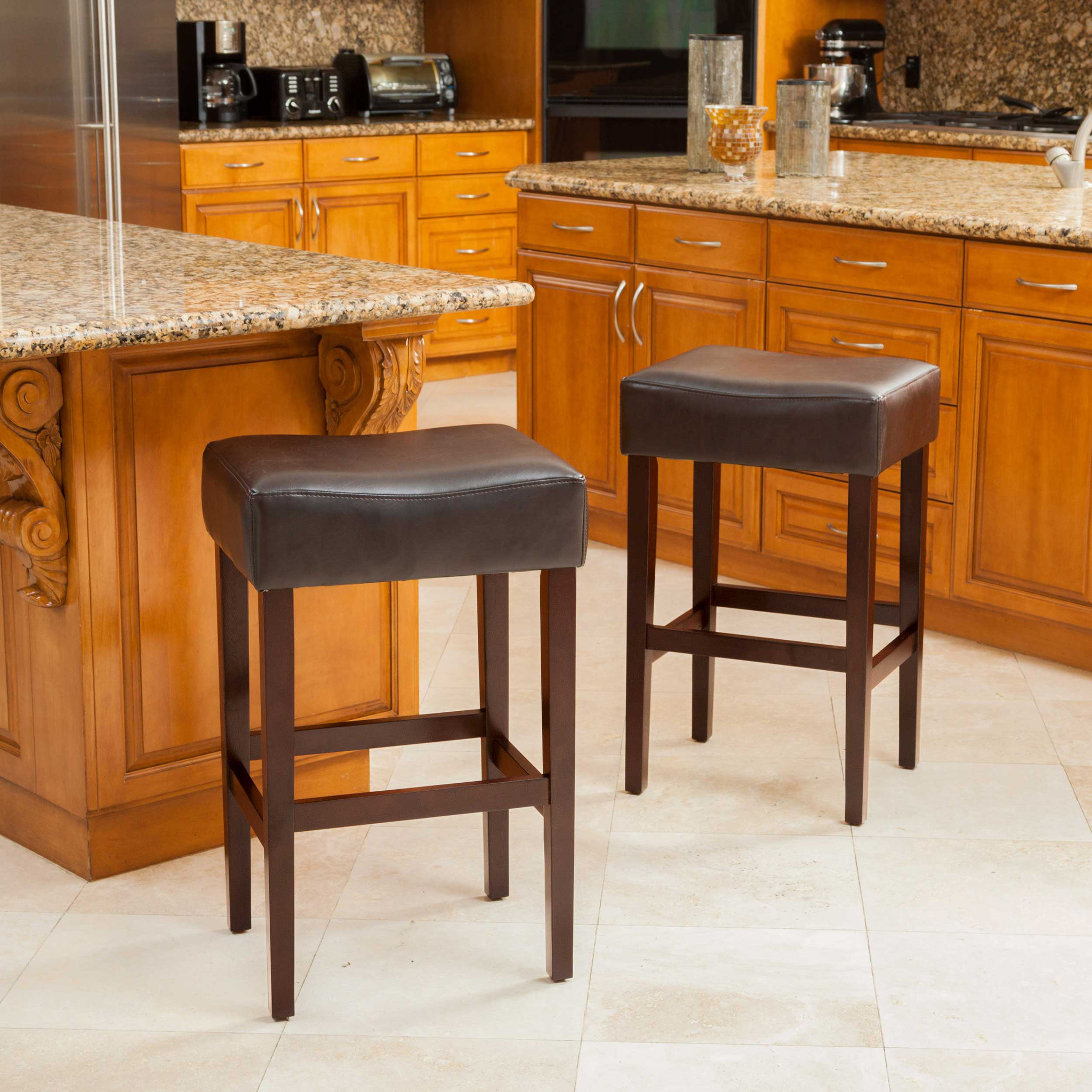 Roby Brown Leather Backless Bar Stools (Set of 2)