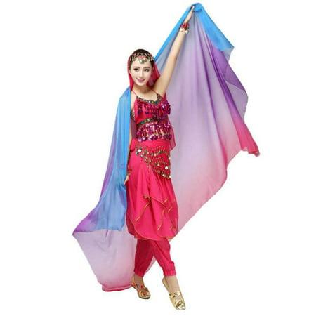 Women Silk Belly Dance Veil Scarf Belly Dance Soft Chiffon Gradient