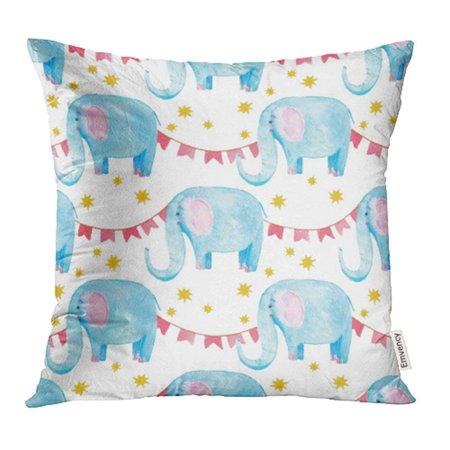 Arhome Cute Elephant Watercolor Blue Cartoon Character