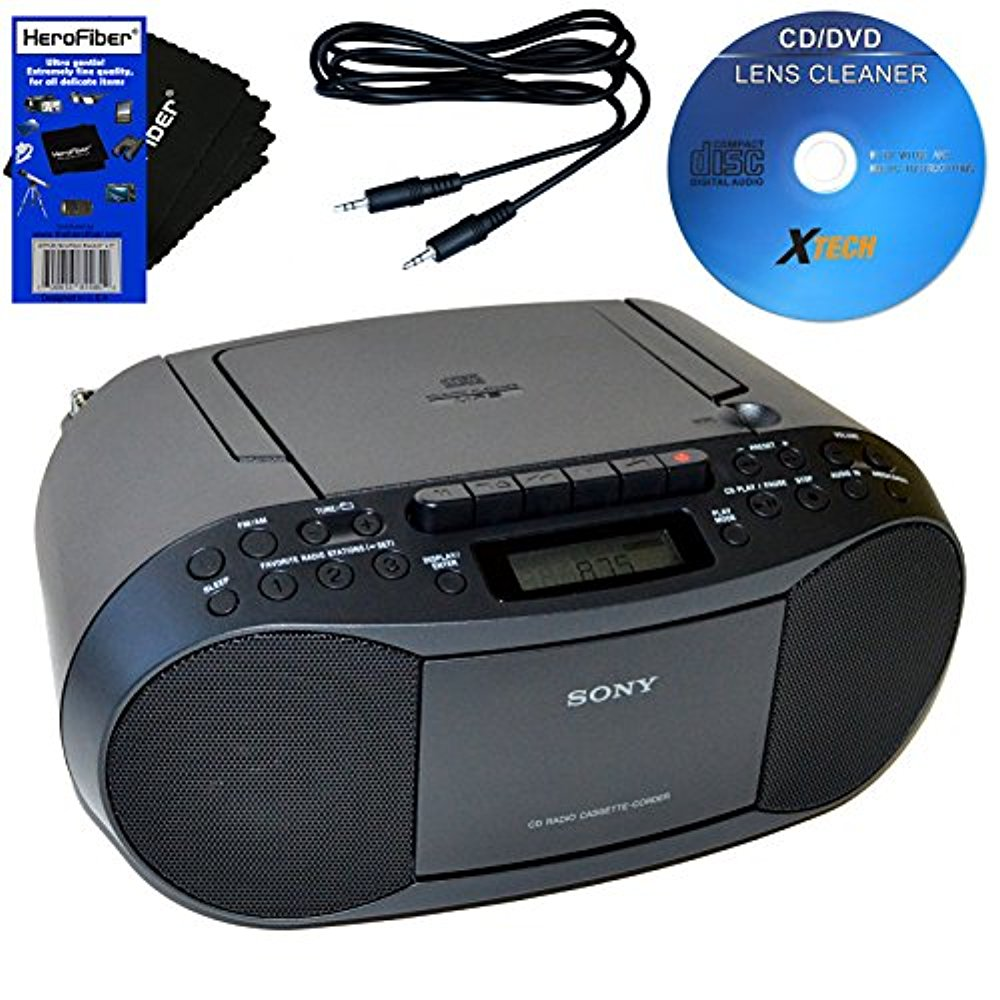 Sony CD Radio Cassette Recorder Bundled with AC Power Auxiliary Cable, Cleaner