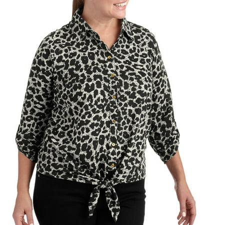 a2199ec554f2 ONLINE - Women's Plus-Size Tie-Front Animal Print Knit Blouse ...