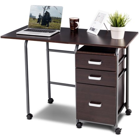 Gymax Folding Computer Laptop Desk Wheeled Home Office Furniture w/3 Drawers Brown