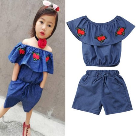 Cute 2Pcs Girl Toddler Embroidered Rose Tops+Denim Pants Kids Outfits Set 1-6Y