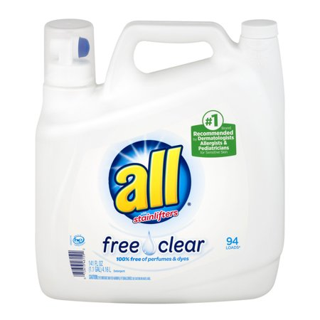 All  With Stainlifters Free   Clear Liquid Laundry Detergent 141 Fl  Oz  Jug