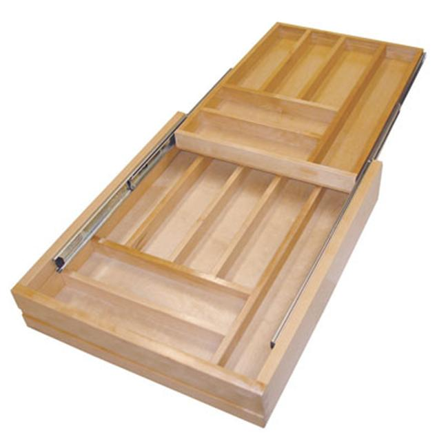 Rev-A-Shelf RS4WTCD. 21. 1 17. 5 inch Two Tiered Wood Cutlery Trays