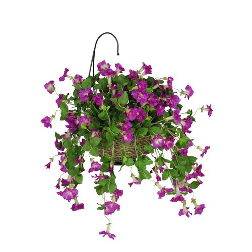 House of Silk Flowers Inc. Artificial Petunia Hanging Plant in Basket