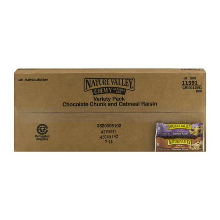 Nature Valley Chewy Granola Bar Variety Pack Chocolate Chunk and Oatmeal Raisin - 120 CT0.89 (Oatmeal Chocolate Chunk)