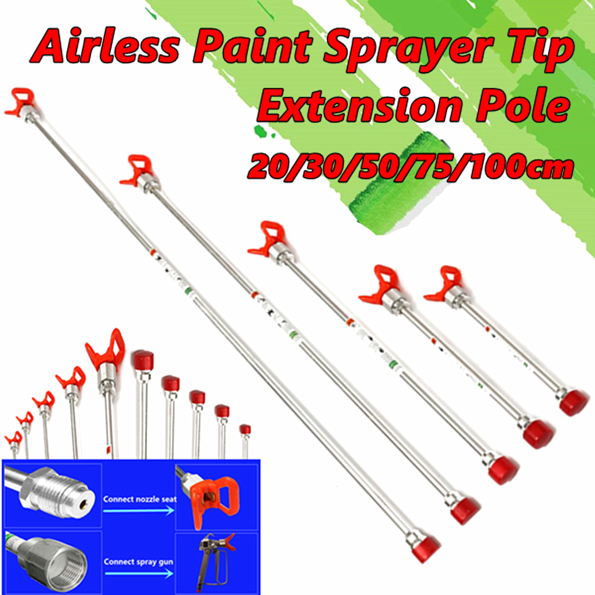 Aluminium Airless Paint Spray Gun Sprayer Extension Pole with Tip Guard Nozzle Seat, 20/30/50/75/100CM